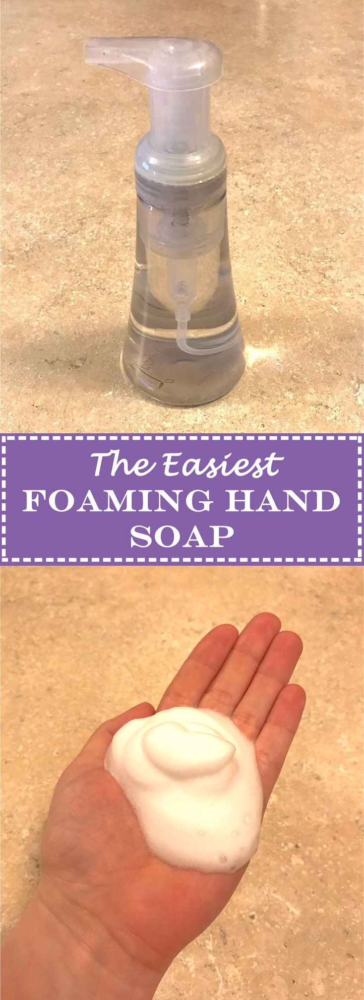 The Easiest Foaming Hand Soap!  -> stretch your dollar and make a regular bottle of hand soap last way longer!   www.cookcleancreate.co #foamingsoap #foam #soap #diy #diyclean #clean #easiestfoamsoap #diyish #cookcleancreate