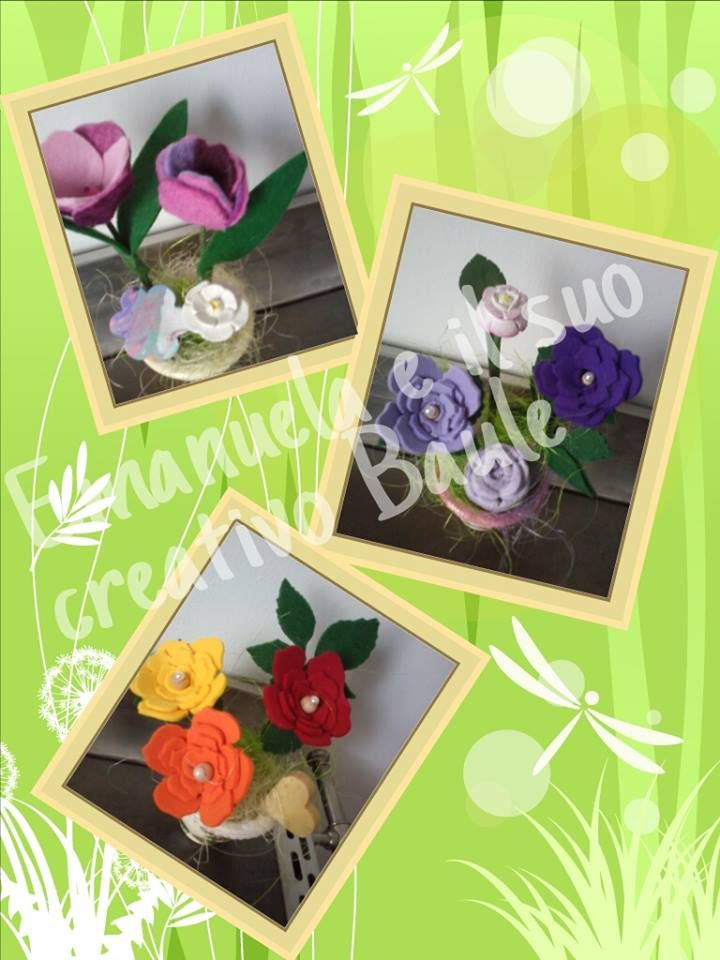 mix di materiali: vasetto in terracotta con fiori in feltro e sapone decorativo