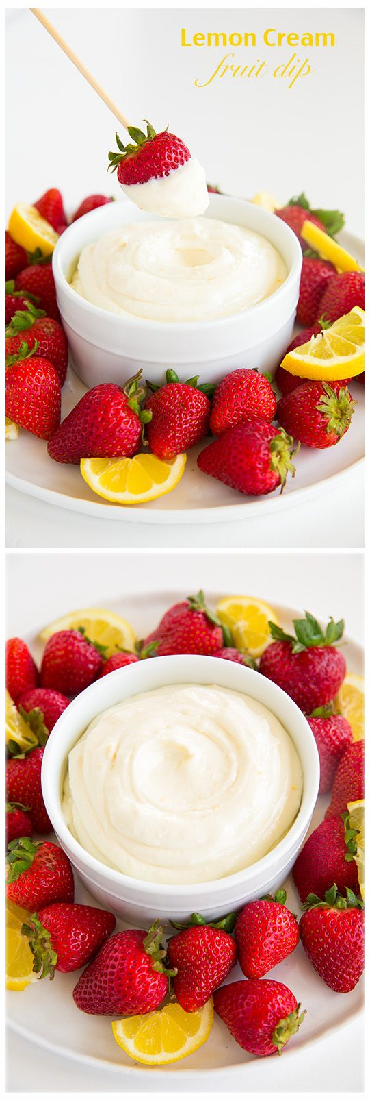Lemon Cream Fruit Dip - only requires 4 ingredients and a few minutes to make!