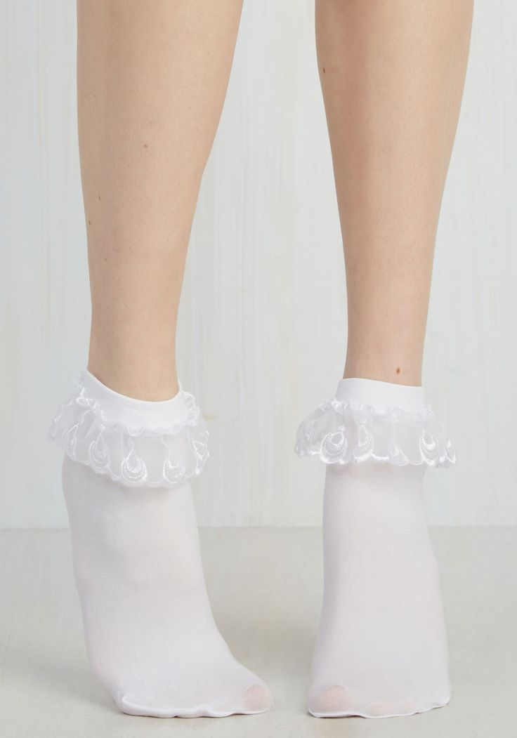 Just You and Eyelet Socks in White, @ModCloth