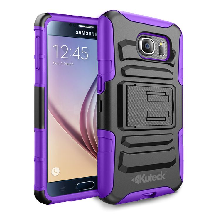 GALAXY S6 HOLSTER, DUAL LAYER COMBO COVER WITH BELT CLIP [BUILT-IN CREDIT CARD SLOT CLIP] (PURPLE)   #cellphonegadgets #mobileaccessories www.kuteckusa.com