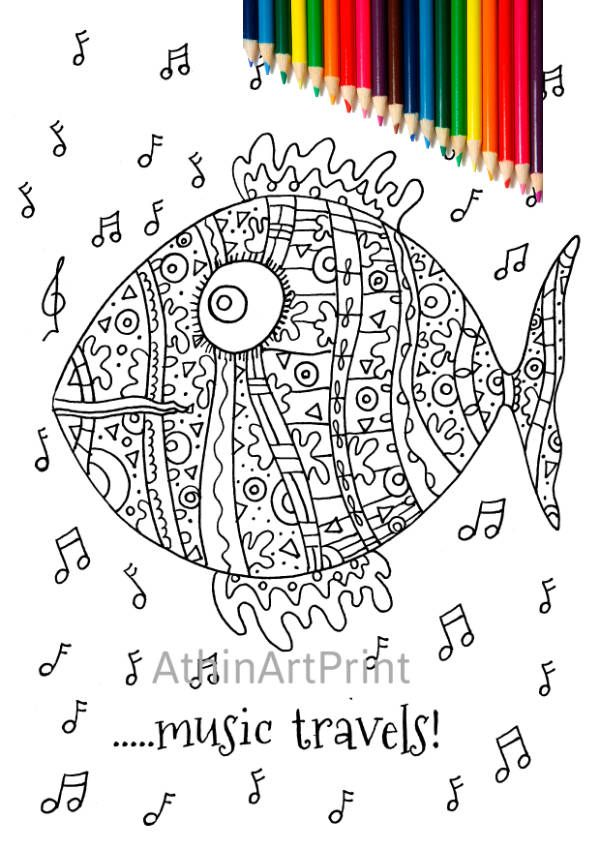 Adult Coloring Pages, Printable Coloring Page,  Colouring Page, Digital Coloring Page, Fish Coloring, Kids Coloring, INSTANT DOWNLOAD by AthinArtPrint on Etsy