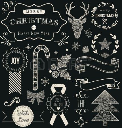 Kerst Hand getrokken vector set: ontwerpelementen en pagina decoratie, vintage lint, Laurel, Label op schoolbord achtergrond. Stockfoto