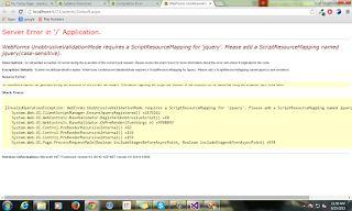 Error: WebForms UnobtrusiveValidationMode requires a ScriptResourceMapping for jQuery.