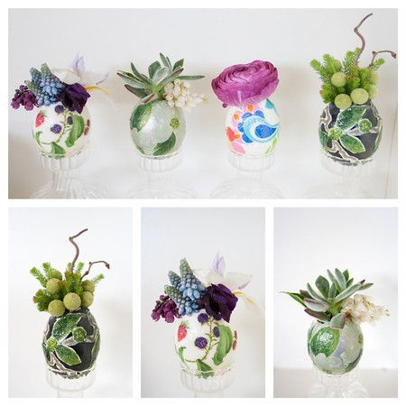 Transform ordinary eggshells into decoupaged planters for an unconventional and unbelievably beautiful Easter decoration! Mod Podge: http://ow.ly/a5dQT