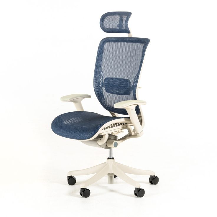Modrest Wright Modern Blue Office Chair. The Modrest Wright Modern Blue Office Chair prides itself with a well-structured, comfortable design featuring black polyester mesh fade and odor resistant upholstery, a cushioned seat and a black plastic frame. Easy movability is enhanced by the gas lift, PU castors, and 5-point rolling black nylon swivel base. Adjustable headrest, armrests, arm pads, back rest tilt angle and tension, seat depth and height prevents back neck and back pain. This...