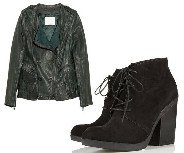2012 sonbaharında da yine topuklu botlar ve deri ceketler başrolde fakat bu kez maxi etekler, elbiseler ve yağmurluklarla birlikte kombinleniyor.