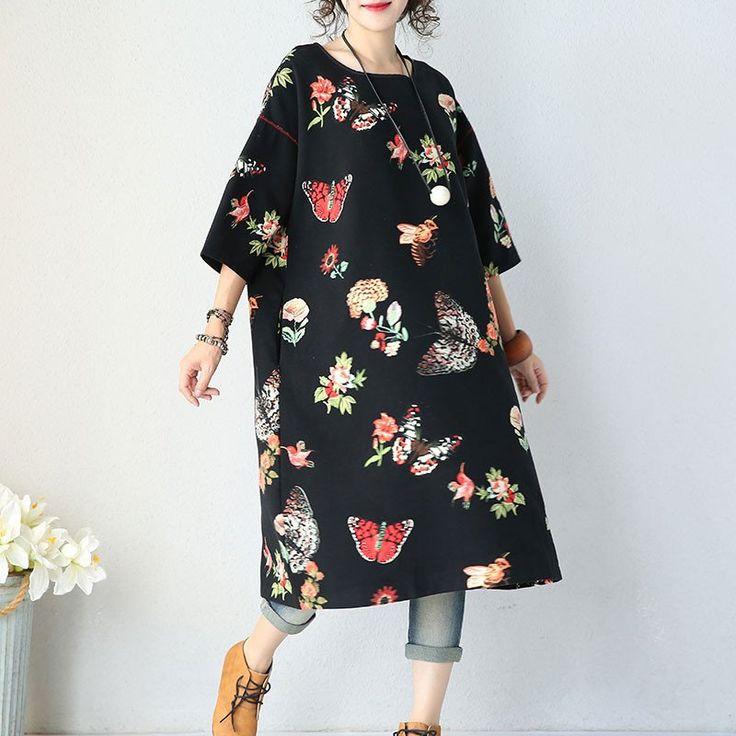 Women cotton 3/4 sleeve  loose dress