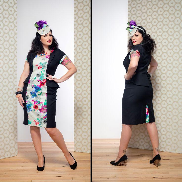 Celia Peplum Dress in Black / Garden
