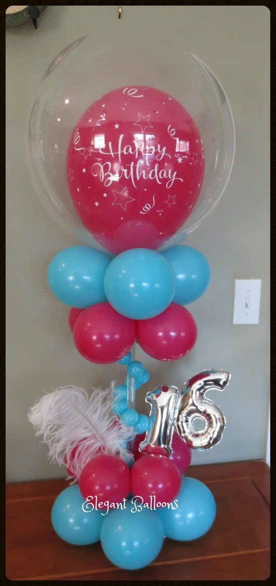 Sweet 16 centerpiece with feathers sweet 16 decorations for Balloon decoration ideas for sweet 16