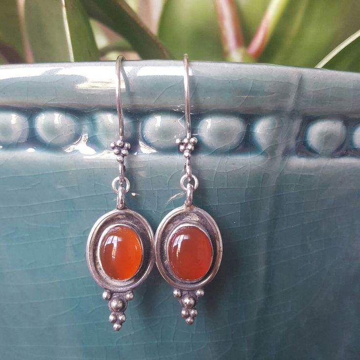 these Vintage Style Sterling Silver and Carnelian Gemstone Earrings are vibrant and Earthy and great for people who need to boost creative flow and passion for life or balance hormones too...or just because you love them!