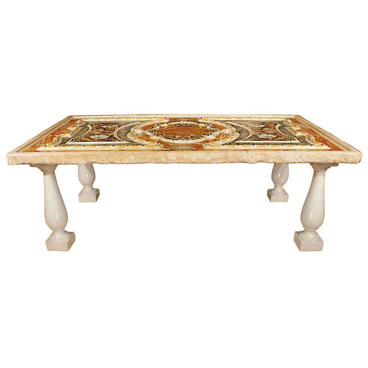 Italian 18th century pietra dura marble plateau marbles for Table cuisine 75 x 75