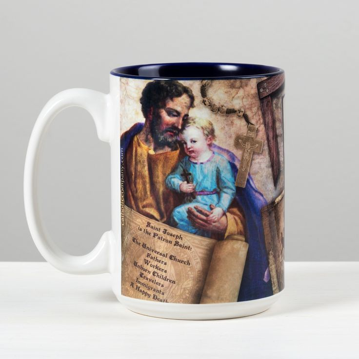 St. Joseph Story Mug | The Catholic Company - St. Joseph was the Spouse of Our Lady and adoptive father to Our Lord. Tradition teaches us that he was a carpenter by trade. He is known as the patron of the Catholic Church, as well as many causes including all laborers and families. His feast days are: St. Joseph Husband of Mary - March 19th and St. Joseph the Worker - May 1st.