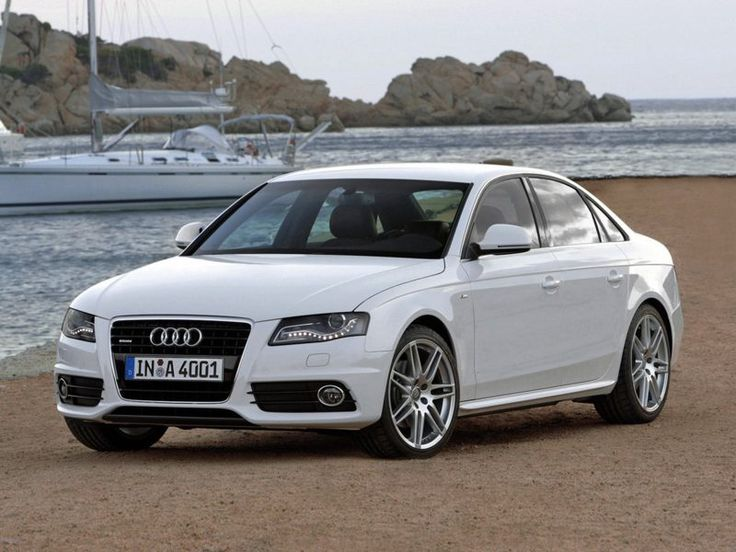 white Audi A4 - this is the most beautiful car I have ever seen. I will own this one day!