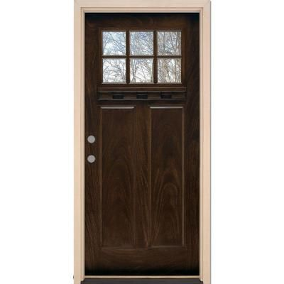 Feather River Doors 6 Lite Craftsman Chestnut Mahogany Fiberglass Entry Door - FF3791 - The Home Depot