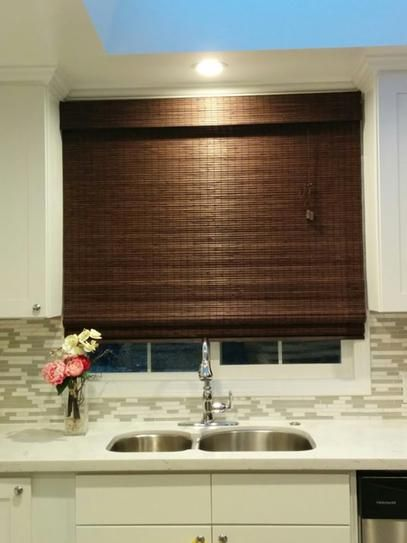 Home decorators collection espresso flat weave bamboo roman shade 35 in w x 72 in l bamboo Home decorators collection bamboo blinds