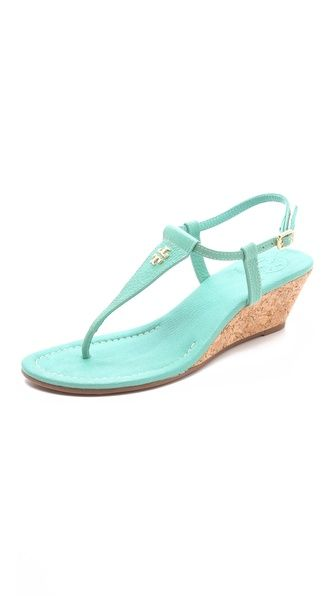 Tory Burch Britton Wedge Mint Sandals