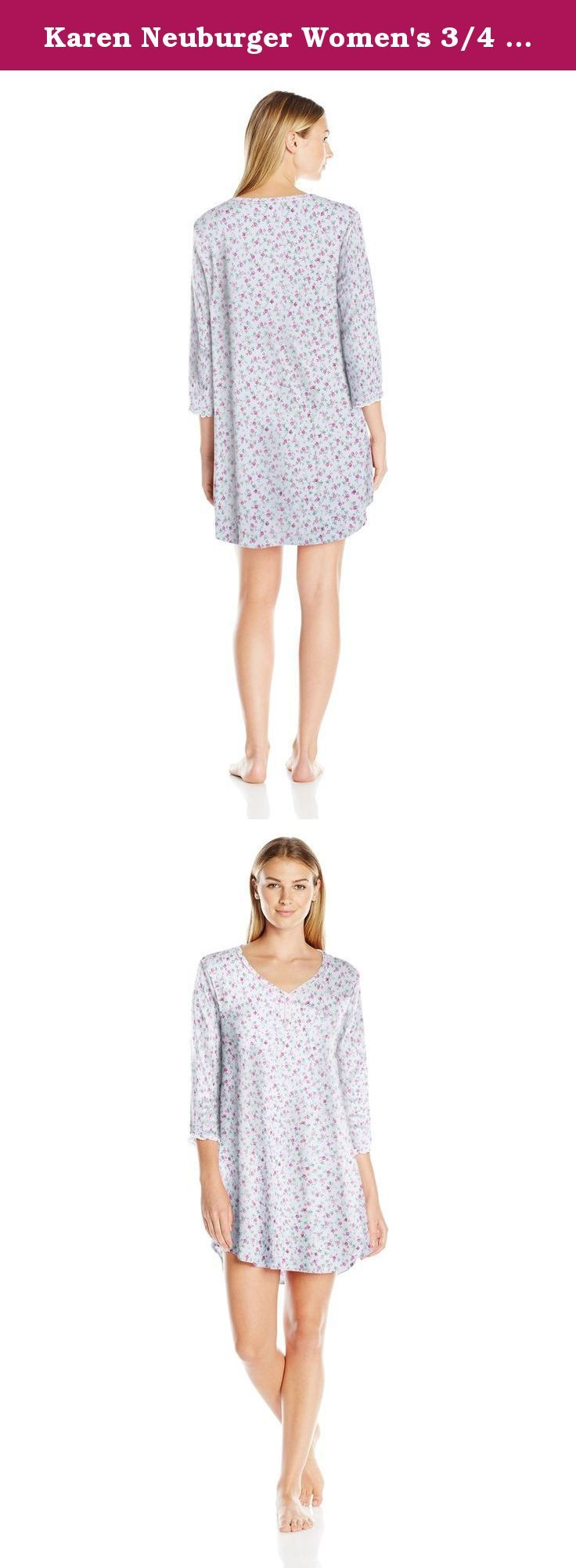 Karen Neuburger Women's 3/4 Slv Pullover Nightshirt, NA Ditsy/Berry, X-Large. You'll want to lounge around in these pajamas all day Karen Neuburger sleepwear starts with light weight, cozy fabric (it's the softest we could find) and an easy fit. Next we add unique details-such as an embroidered pocket or fun contrast piping-to make these pajamas simply your favorite. Karen Neuburger started the all-day sleepwear revolution by designing pajamas she wanted to stay in all day long, twenty…