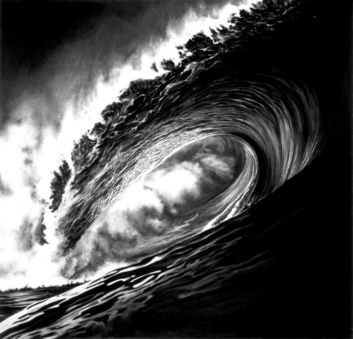 Monsters - Robert Longo made these incredible drawings of massive, thundering waves using just charcoal (on mounted paper).