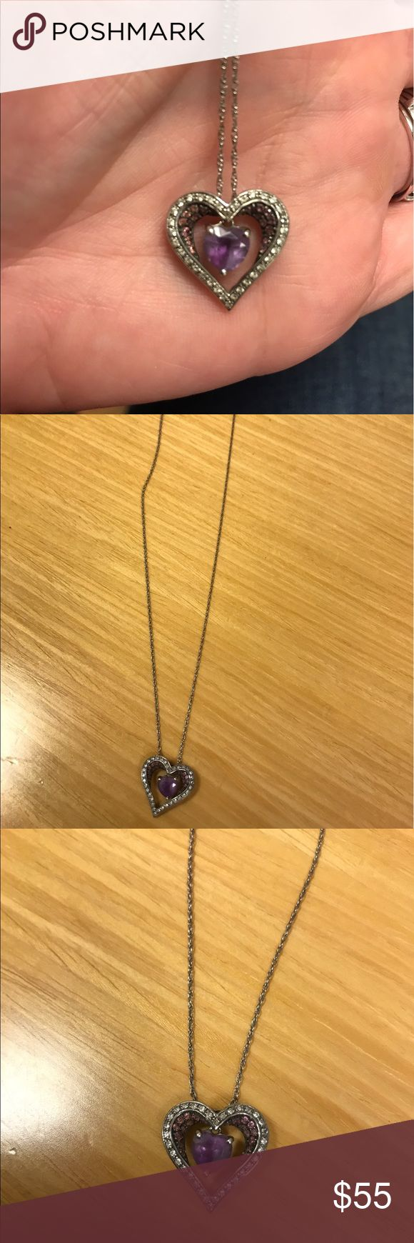Amethyst diamond heart necklace Sterling silver necklace with rows of amethyst diamonds and a heart that dangles in the center. Kay Jewelers Jewelry Necklaces
