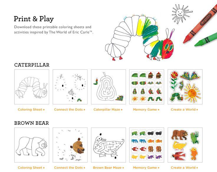 Grundschule Englisch: Eric Carle Materialien (memory cards) brown bear, caterpillar...