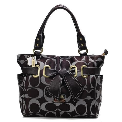 Look Here! Coach Poppy Bowknot Signature Medium Coffee Totes ANA Outlet Online
