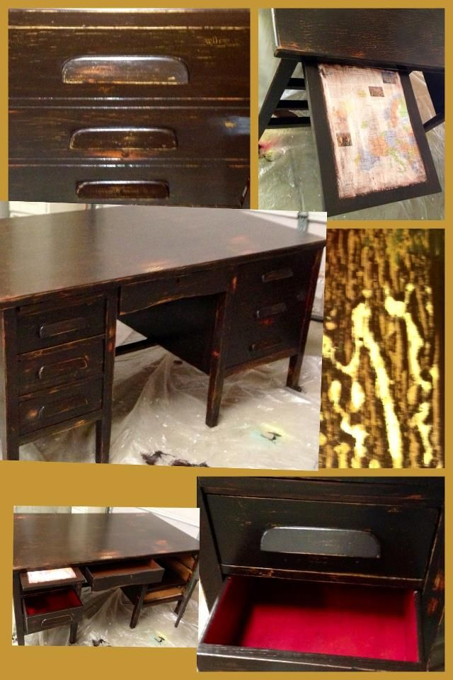 """One my favorite upscale projects Vintage teachers desk - my guess is 50's. It was a yellowed """"natural"""" colored finish. I layered and layered paints and gels and oils to get just the look I wanted. Decoupaged then lacquered a vintage map and added my touch to the cabinet door and interior of the drawers.  https://www.facebook.com/vintagevexation"""