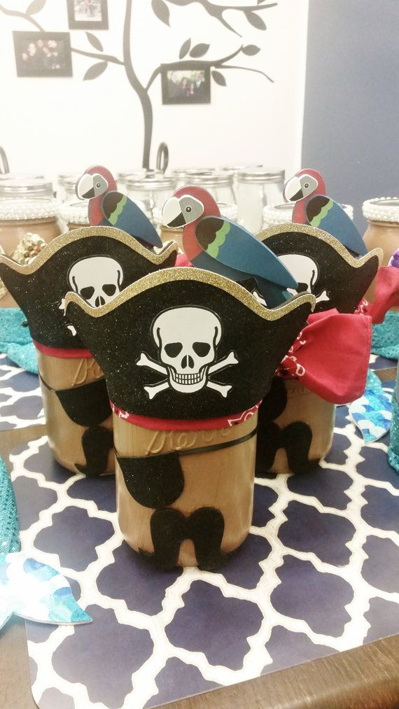 Pirate Mason Jar Party Centerpiece Pirate by LilLoveBugsCreations