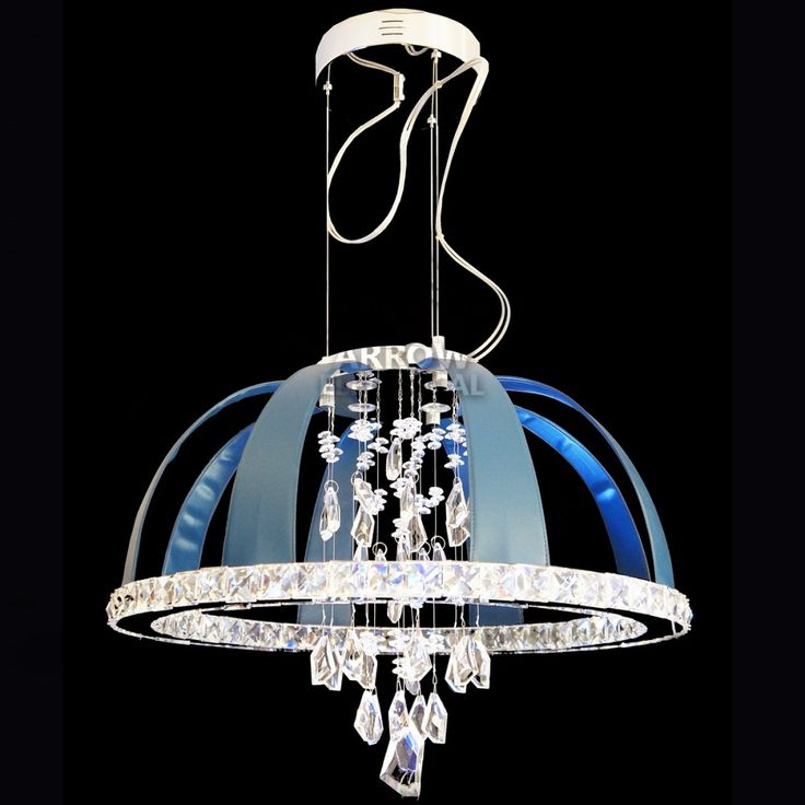 Arrow Dome LED Crystal Chrome Pendant in Blue Leather