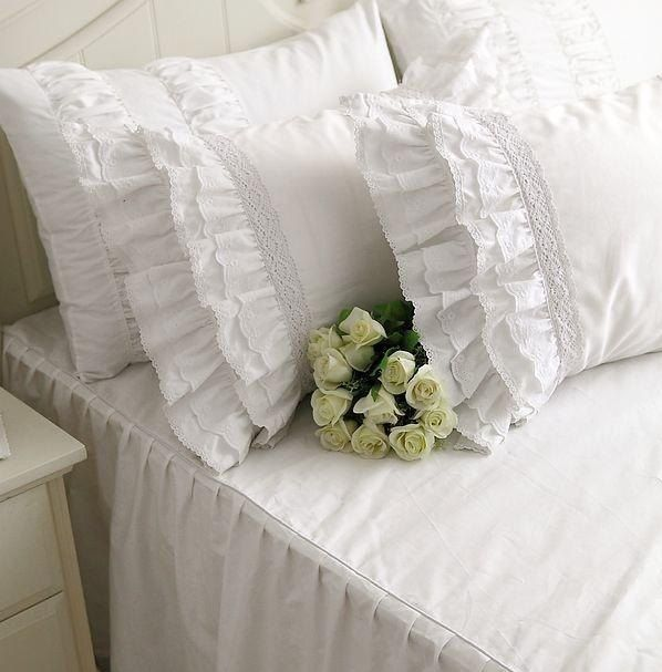 Luxury Ruffles Bed Skirt Bedspread Princess Bedding Sets Queen King 4pcs White Quilt/Duvet Cover Bedclothes Bed Sheet Cotton