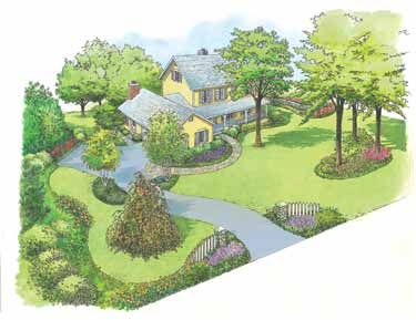 Farm House Landscaping | Country Farmhouse Style Landscape (HWBDO10990) |  House Plan From