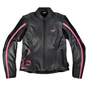 Blouson cuir moto femme Difi Alena noir/rose