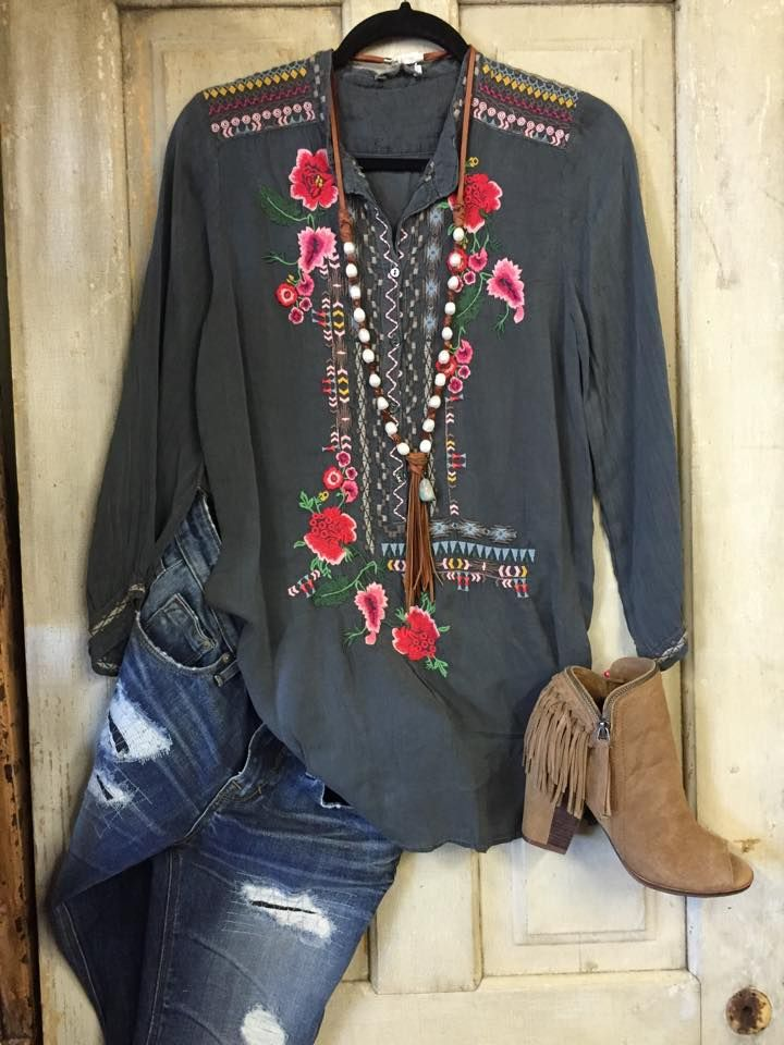 Johnny Was Mandarin Blouse - Tin Rose Boutique