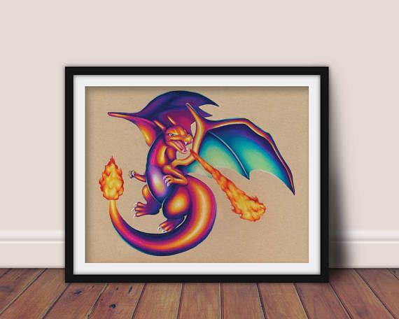Charizard Art Signed Print Pokemon Art Pokemon Geek Art