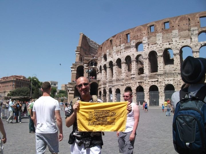 The Coliseum in Rome, Italy gets a taste of the Terrible Towel! (photo courtesy of Bob Grabowski for Steelers Fans Outside Pittsburgh)
