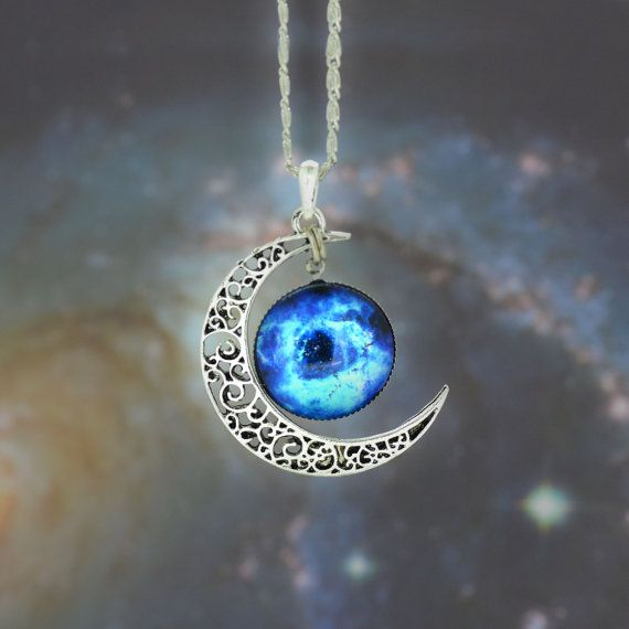 Blue Nubula Galaxy Cabochon Necklace, Bib Necklace, Charm Necklace,Moon necklace, Galactic Cosmic Moon Necklace #836
