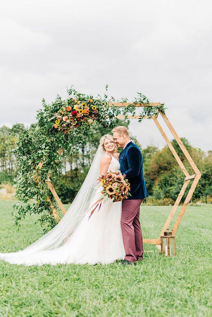 Honeycomb Inspired Geometric Wedding Ceremony Backdrop