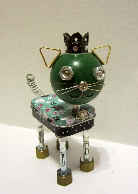 Cool Cat Bot - found object robot sculpture assemblage