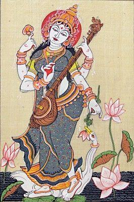 Orissa Pata chitra painting on Tussar silk of Goddess Saraswathi standing up.