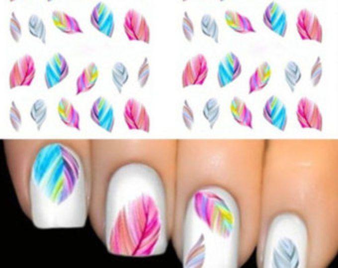 Nail enveloppements ongles Nail Art Stickers eau transferts plumes bleu rose Salon qualité YD53