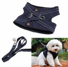 coleira tipo colete jeans para cachorro de pequeno porte