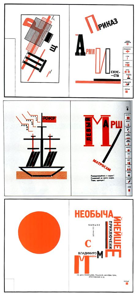 Later in 1923, El Lissitzky created a visual book (The Voice) using a collection of Vladimir Mayakovsky's poems as the main source of information.