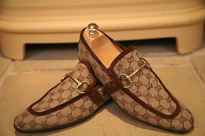 Gucci Men's Brown Canvas Loafers $425