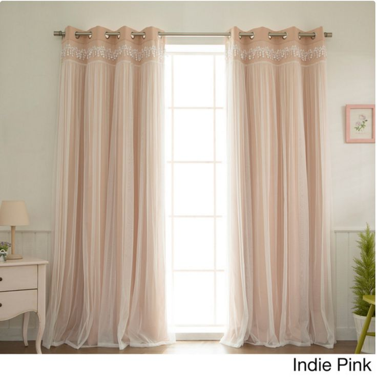 Aurora Home Lace Overlay Blackout Grommet Top Curtain Panel Pair in Indie Pink