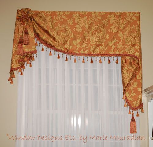 Color The Year Custom Window Treatments in Tangerine Tango Valances For Living RoomLiving