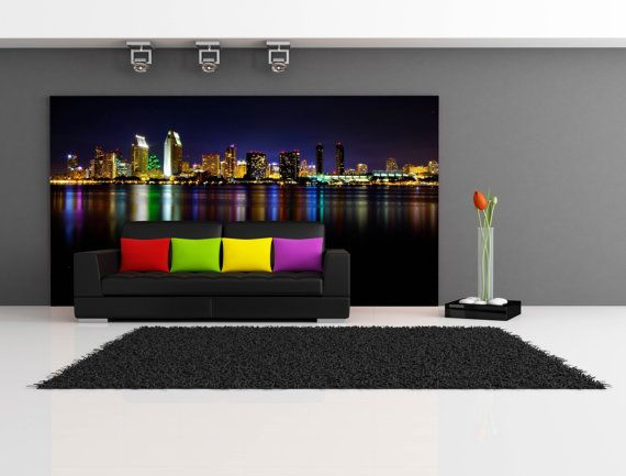 San Diego Skyline At Night Repositionable Wall Mural By FotoWalls. Custom  Removable Wall Murals,