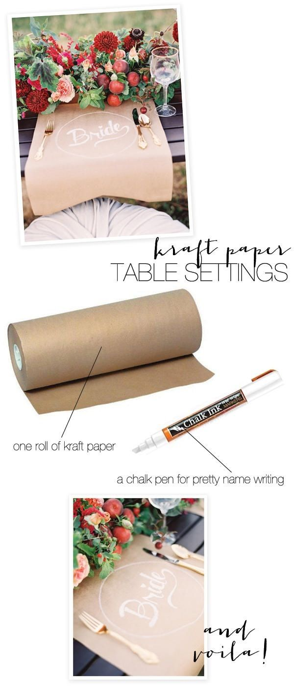 Rustic wedding table setting idea #diyweddingsKraft Paper, Paper Tables, Tables Sets, Craft Papers, Dinner Parties, Tables Runners, Kraft Tables, Places Sets, Diy Wedding