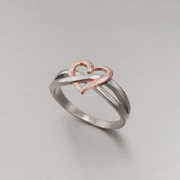 Sterling Silver Infinity Rose Gold Plated Heart Ring