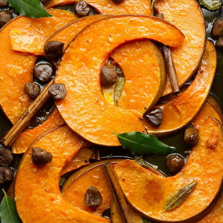 Roasted pumpkin wedges with chestnut, cinnamon & fresh bay leaves