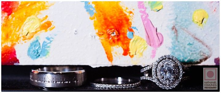 Creativity and Glamour Check out more here>>> http://blog.nathanieledmunds.com #wedding #bride #groom #engagement #ring #abstract #art #paint #gallery #museum